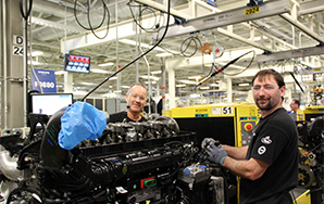 Powertrain employees building a Mack® MP Series engine in Hagerstown
